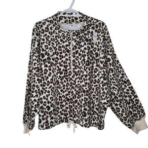 Old Navy 1/2 Zip Mock Neck Leopard Print Tie Bottom Popover Slouchy Sweater Top